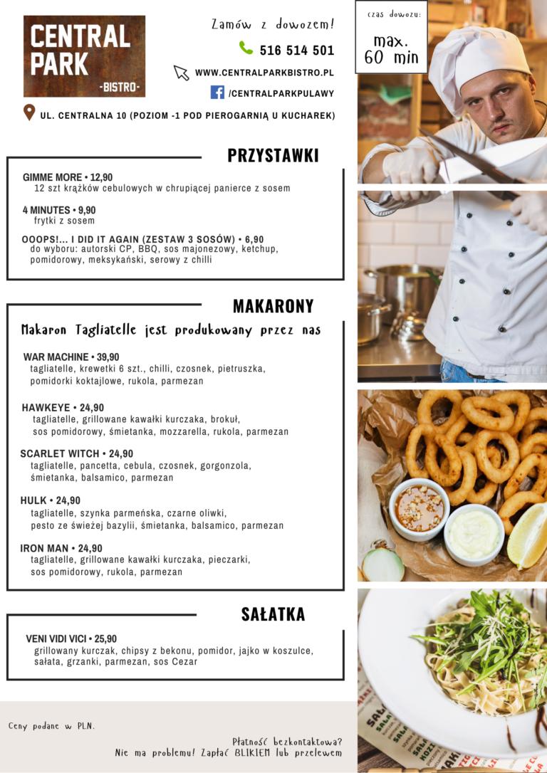 Grafika przedstawiająca menu Central Park Bistro w Puławach